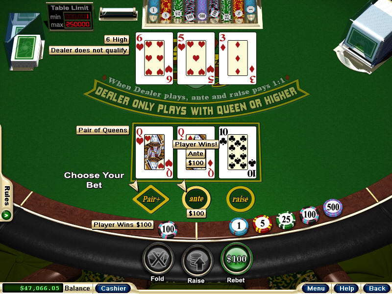 free three card poker games