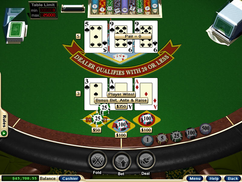 play 3 card poker online for money